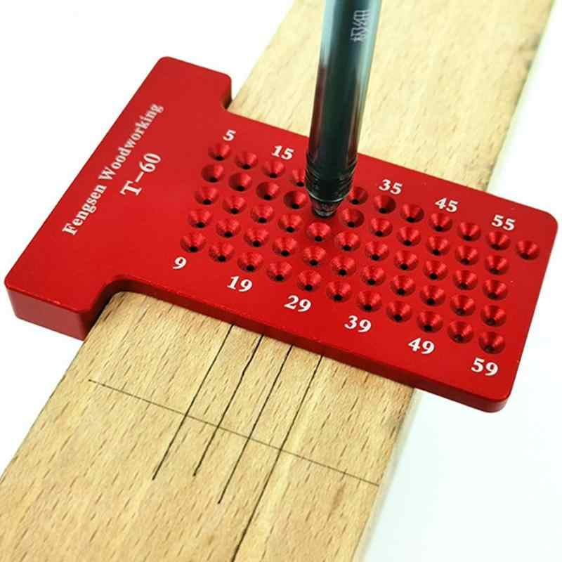 T60 T-type Woodworking Scriber Aluminum Alloy Caliper Ruler Mark Line Wood Gauge Precise Scale and Clear Wear-Resistant