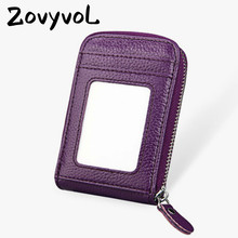 ZOVYVOL 2019  Unisex Genuine Leather Zipper Credit Card Holder ID And Holders 11 Color Blocking Wallets With RFID