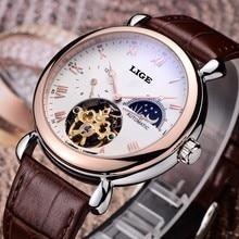 Mens Watches Top Brand Luxury LIGE 2016 Men Watch Sport Tourbillon Automatic Mechanical Leather Wristwatch relogio masculino