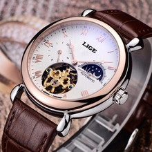 Mens Watches Top Brand Luxury LIGE 2016 Men Watch Sport Tourbillon Automatic Mechanical Leather Wristwatch relogio masculino