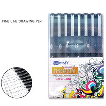 8 pcs Line drawing pen for sketch drawing cartoon manga Water proof Sun proof Pigment ink Stationery Canetas escolar FB984 цена