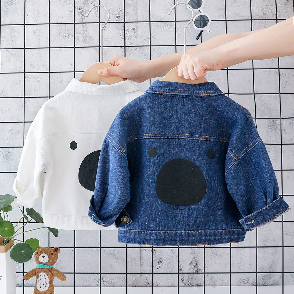 2019 Autumn Baby Boys Cartoon Lapel Collar Denim Jeans Jacket Girls Fashion Coat Children Kids Casual Outerwear casaco(China)
