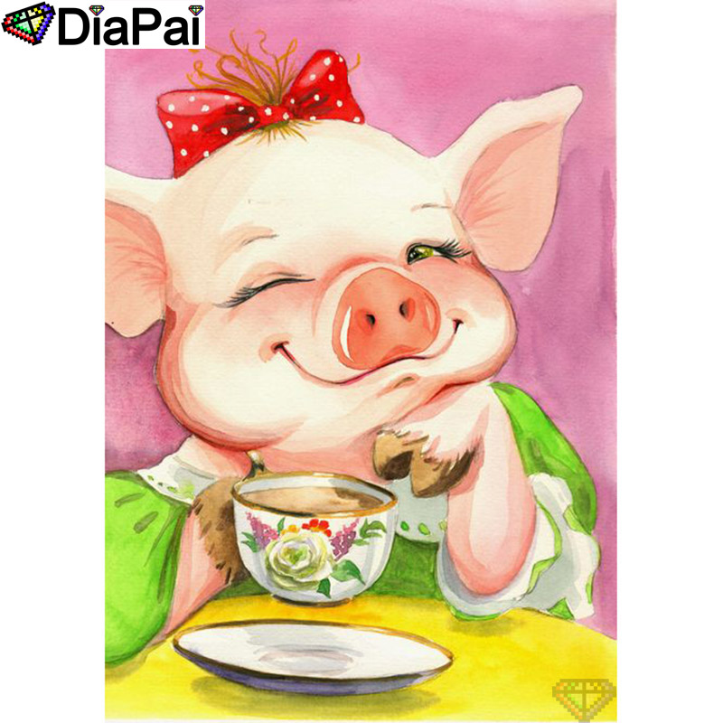 DIAPAI 5D DIY Diamond Painting 100 Full Square Round Drill quot Cartoon animal pig quot Diamond Embroidery Cross Stitch 3D Decor A21754 in Diamond Painting Cross Stitch from Home amp Garden