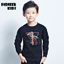 Pioneer Kids Hot Sale 2016 boys Sweatshirt Kids Clothes dinosaur Print Warm Pullover Thick Velvet Baby Boys Clothes Sweatshirt