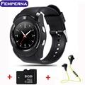 Femperna v8 smart watch apoyo sim ranura para tarjeta tf bluetooth reloj con 0.3 m cámara mtk6261d smart watch para ios android teléfono