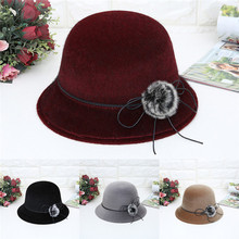 Модные зимние шляпы для женщин, шерстяная фетровая шляпа, Панама, шляпа с широкими полями с поясом, теплая шапка, женская зимняя шапка# A