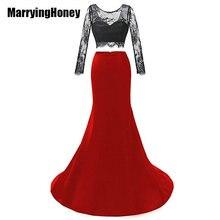 See Through Lace Long Sleeve Mermaid Evening Dresses Two Piece Prom Dress 2017 Satin Abendkleider Lang Robe De Soiree Sirene
