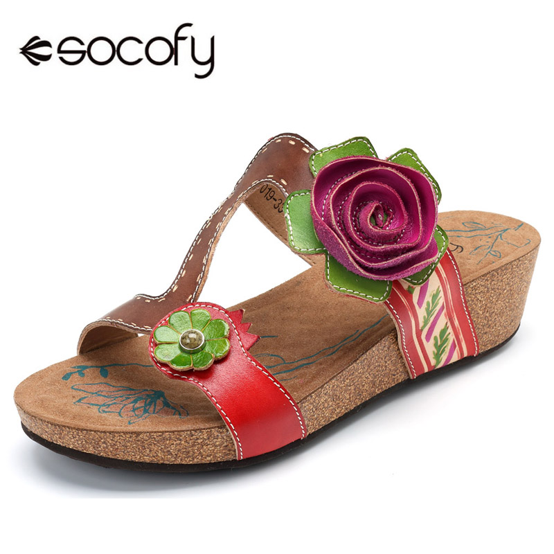 Sodofy Bohemian Slippers Women Shoes Vintage Genuine Leather Shoes Woman Handmade Rose Wedge Heel Summer Beach Slippers ZapatosSodofy Bohemian Slippers Women Shoes Vintage Genuine Leather Shoes Woman Handmade Rose Wedge Heel Summer Beach Slippers Zapatos