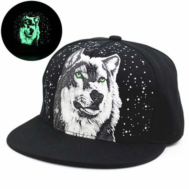 f9db75e3b5b Men Women New Glow In The Dark Print WOLF Snapback Caps Adjustable Hip Hop  Fluorescent Baseball Cap Casual Luminous Hats