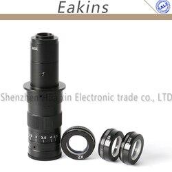Regulowany 180X powiększenie Zoom C mocowanie obiektywu + 0.35X/0.5X/2.0X Barlow pomocniczy obiektyw do CCD COMS kamery mikroskopu okularu