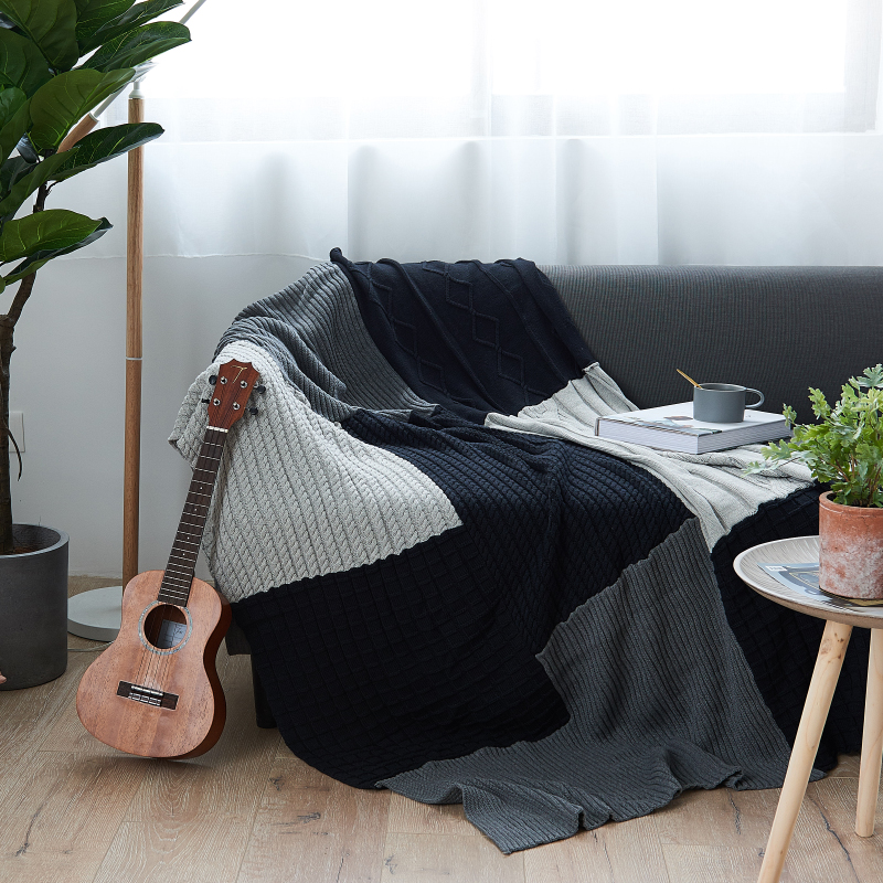 Big size Nordic navy blue gray mixed sofa cover blanket 130*170CM , simple style wearable blanket , sofa towel, car blanket big size nordic navy blue gray mixed sofa cover blanket 130 170cm simple style wearable blanket sofa towel car blanket