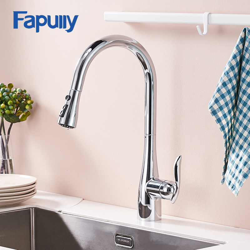 Fapully Pull Out Kitchen Faucet Mixer Hot and Cold Chrome Faucets Spray Head Single Handle Single Holes Taps Faucets 792-33