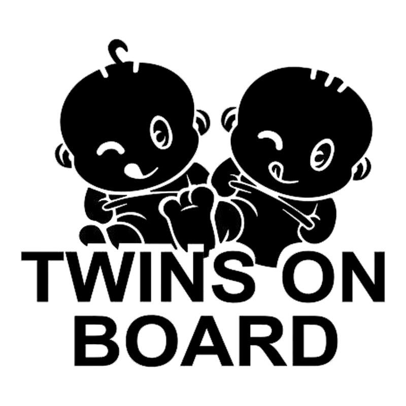 15.2*13.7CM TWINS ON BOARD Car Styling Warning Mark Decal Cool Car Sticker Accessories Black/Silver C9-2355