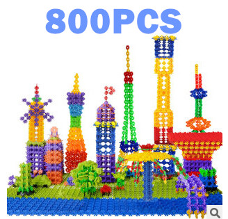 Hot Sale 800PCS Snow Snowflake Building Blocks Toy Bricks DIY Assembling Classic Toys Kids Early Educational Learning Toys