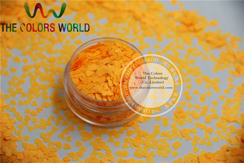 Solvent resistant - Neon  Orange Color heart-shaped Glitter Spangles for Nail Polish and Other DIY decoration 1Pack =50g tcf510 solvent resistant neon rose carmine color mickey mouse shape spangles for nail polish and other diy decoration1pack 50g