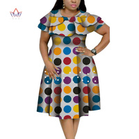 New Bazin Riche African Ruffles Collar Dresses for Women Dashiki Print Pearls Dresses Vestidos Women African Clothing WY4401