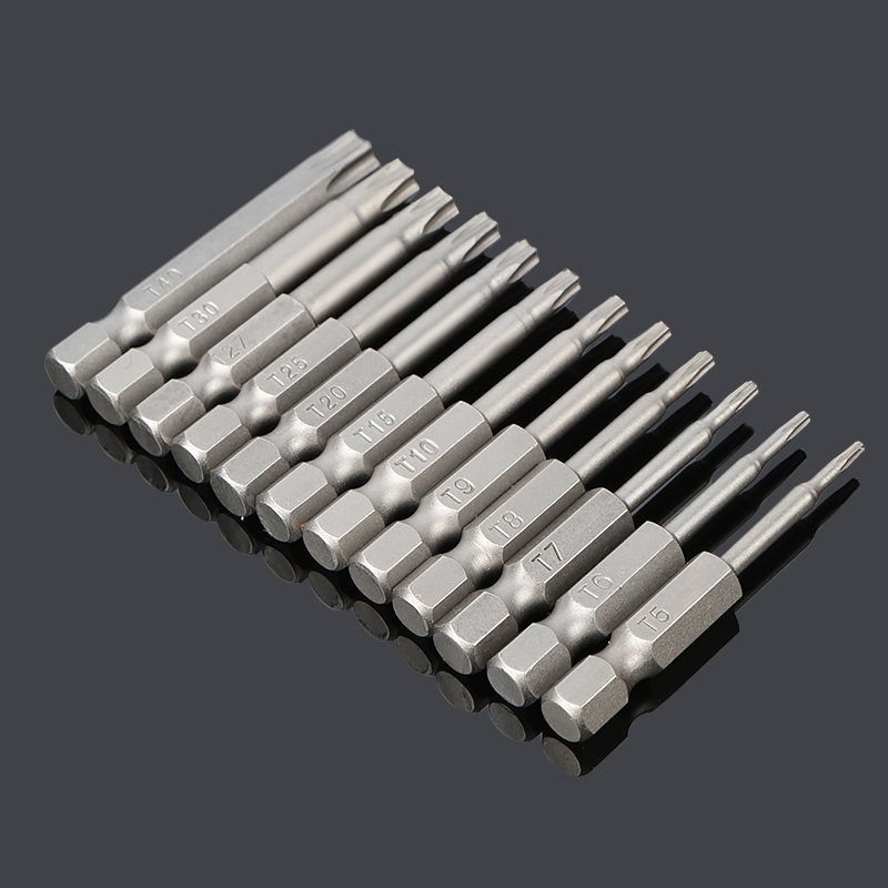 12pcs 50mm Installed 50mm SEALS St5-t40 Torx Magnetic Plum Batch Head Screwdriver Bit Hollow hole Batch of chrome vanadium steel 33 in 1 mutifunction screwdriver set t type ratchet screw driver fast batch head chrome vanadium steel practical screwdrivers