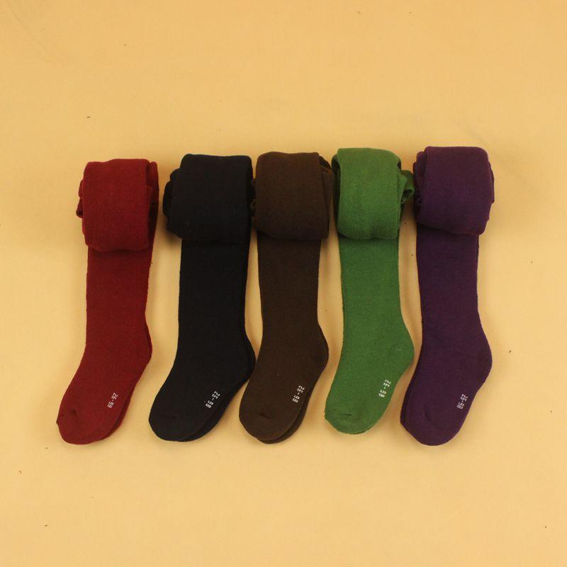 Весна-осень 0-24 м хлопок детские плотно 5 черного цвета красный зеленый коричневый фиолетовый детские колготки