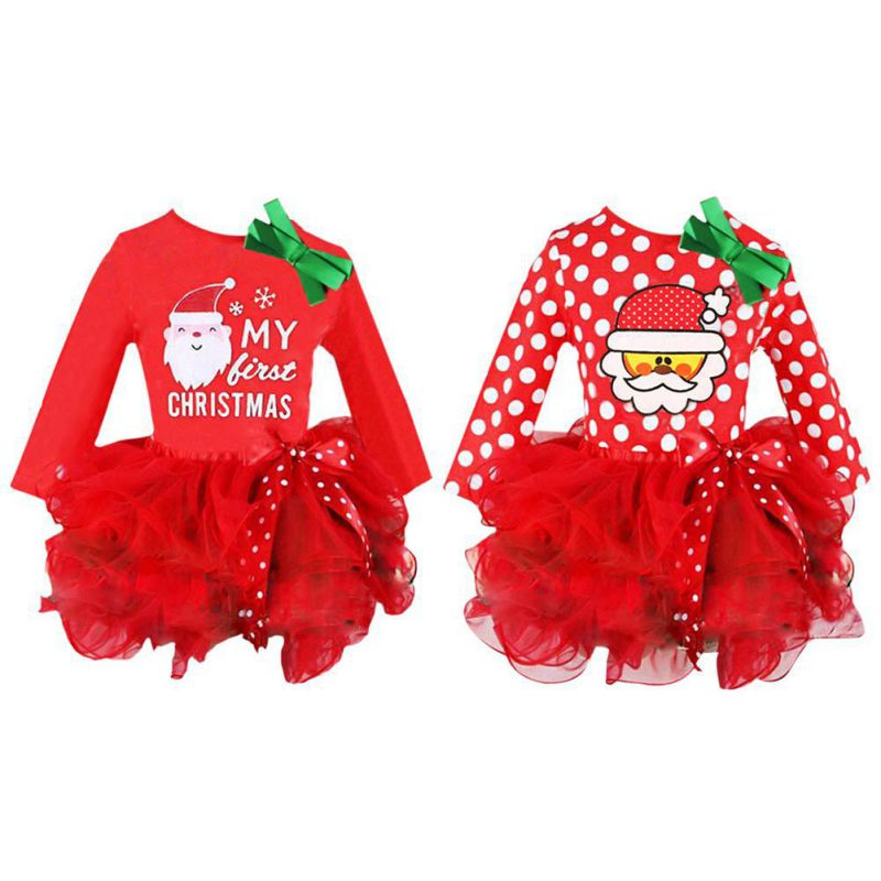 2018 Christmas Santa Claus Child Girl Dress Red Baby Girls Ball Gown Long Sleeves Cotton Princess Dress For 2-6Y Girls christmas santa claus snowflake vintage plus size dress