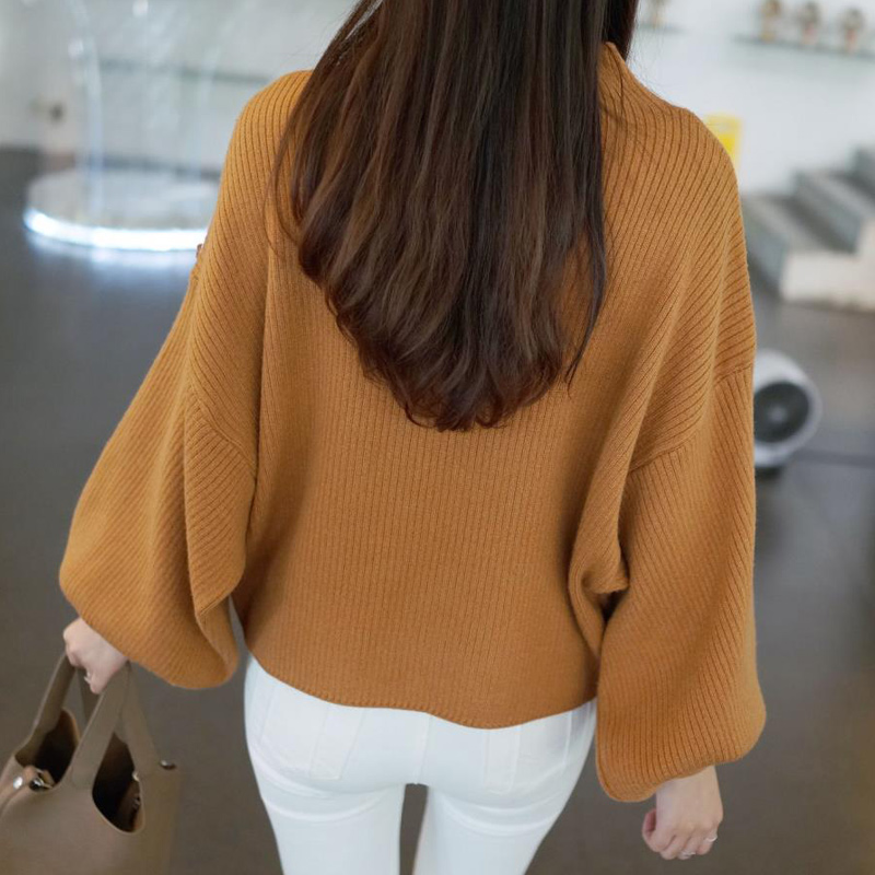 Winter Women Sweaters Fashion red white Turtleneck lantern Sleeve Pullovers Loose Knitted Sweaters Female Jumper Tops 19 5