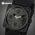 Homens de INFANTARIA Relógios Rosto Quadrado Pulseira de Borracha Casual Relógios Desportivos Marine Corps Do Exército relógios de Pulso de Quartzo Relogio masculino