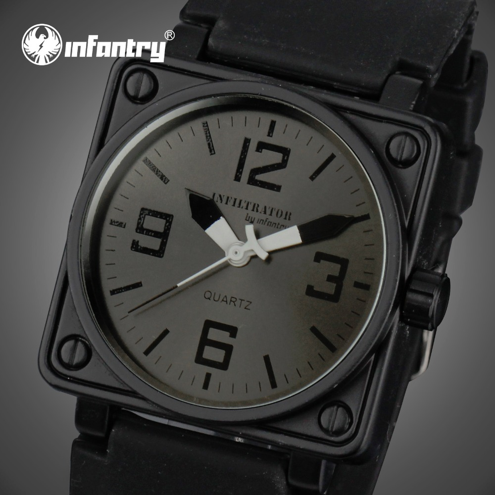 INFANTRY Men Watches Square Face Rubber Strap Casual Sports Watches Army Marine Corps Quartz Wristwatches Relogio