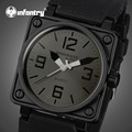 INFANTRY Men Watches Square Face Rubber Strap Casual Sports Watches Army Marine Corps Quartz Wristwatches Relogio Masculino
