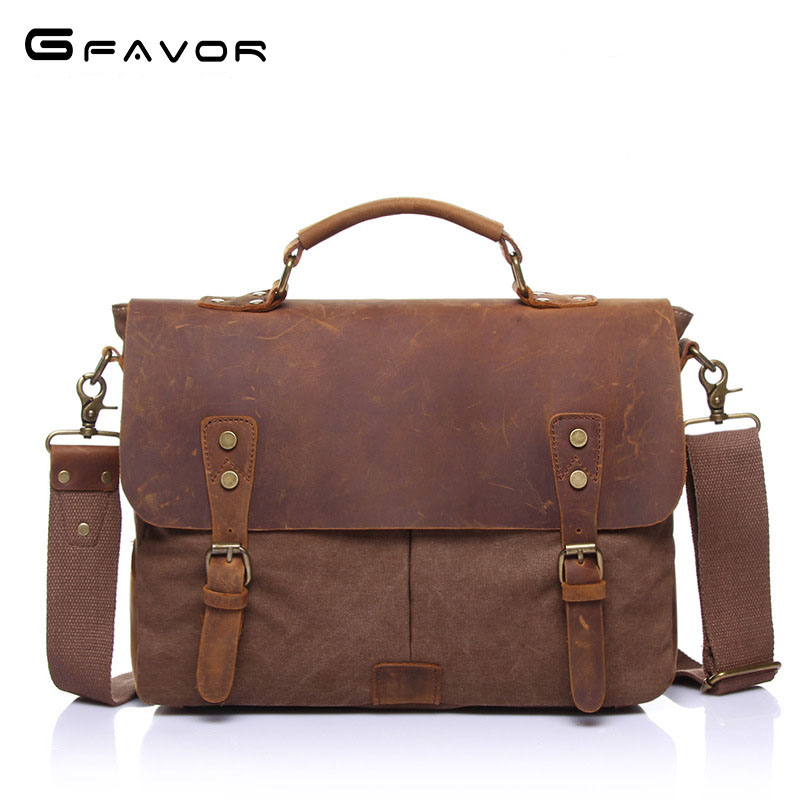 G-FAVOR Fashion Business Briefcase Shoulder Bag Notebook Computer Bag Waterproof Oil Wax Canvas Cow Leather Laptop Bag Handbags aetoo the new oil wax cow leather bags real leather bag fashion in europe and america big capacity of the bag