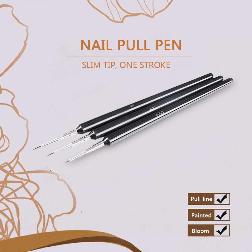 ขายร้อน 3Pcs Dotting จิตรกรรมวาด UV เจล Liner โปแลนด์แปรงเครื่องมือปากกาเล็บชุดจัดส่ง Dropshipping