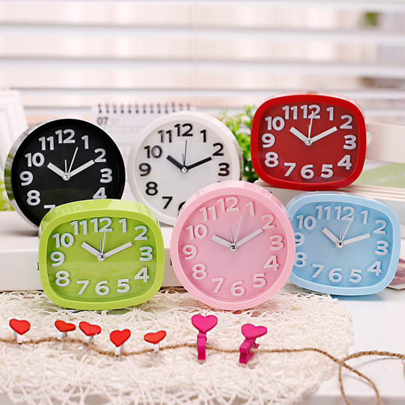 Home 6 Colors Cute Cartoon Alarm Clock Simple Design Candy Color Desktop Bedside Alarm Clock Pink Black