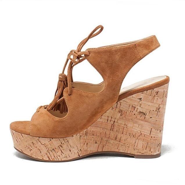 Sandales compensées à bout ouvert marron pour femme, plate forme en bois, évider les chaussures de soirée à lacets
