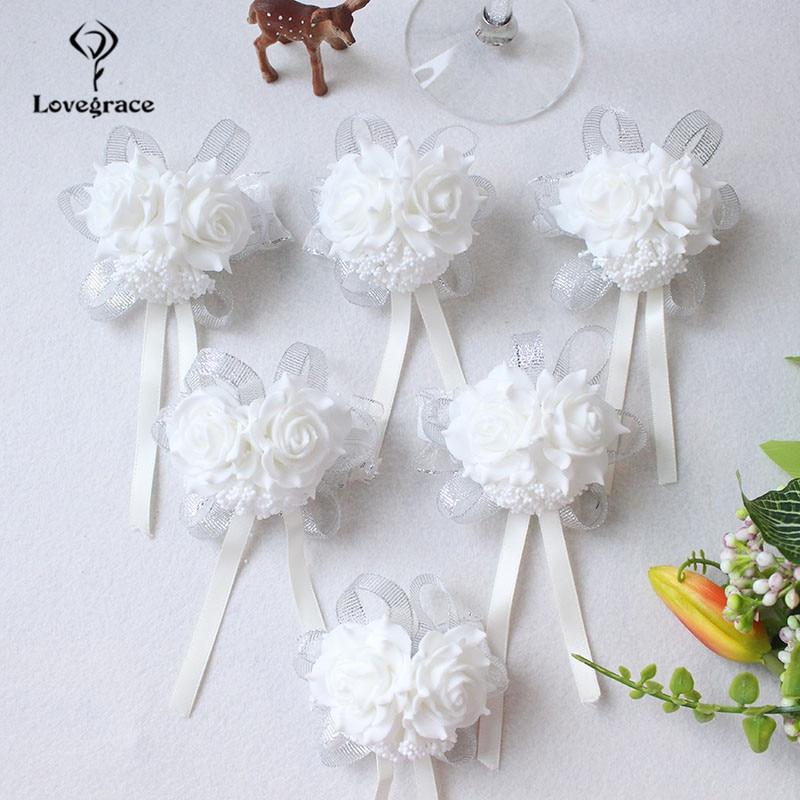 White Foam rose Wedding Wrist Corsage Hand Flowers Boutonniere bridal  (94)