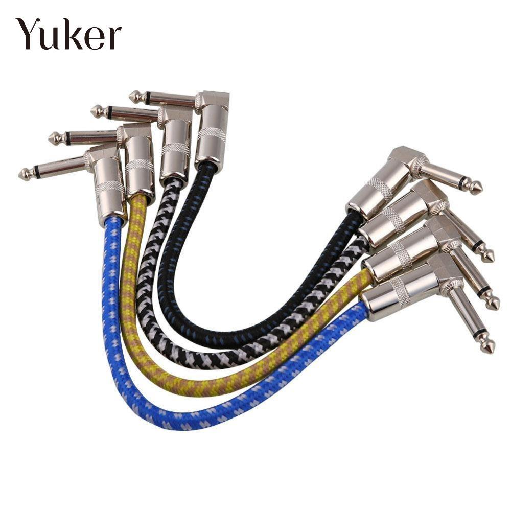 Yuker 6.3mm Electric Guitar Effect Pedal Patch Connect Cable Wire Bass Cord Audio AMP String Adapter Instrument 27.5cm right angle 1 4 mono guitar effect pedal board cable patch cord 25cm