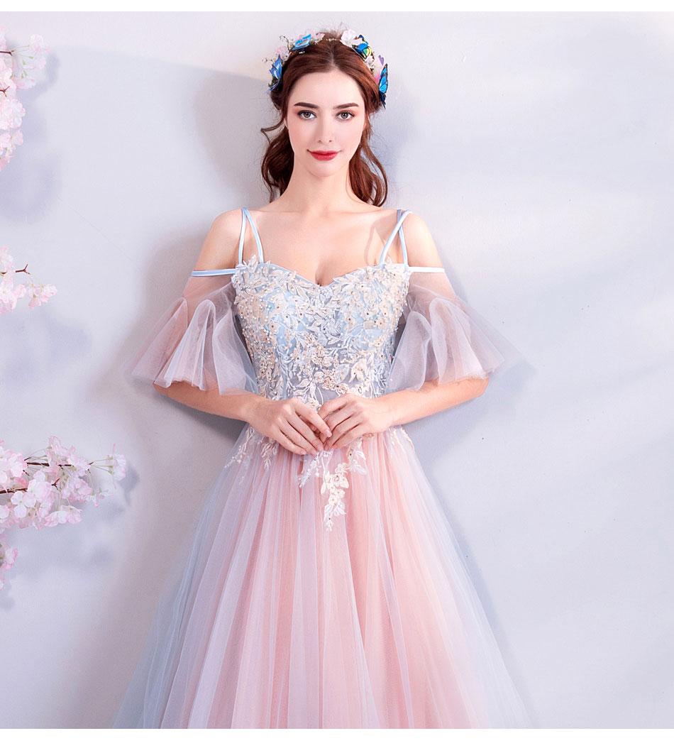 Elegant Off The Shoulder Tulle Long Bridesmaid Dress 8