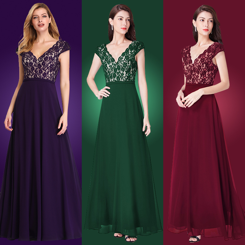 Ever Pretty Robe De Soiree 2020Long Lace Evening Dresses Elegant A Line V-Neck Short Sleeves Black Formal Party Gowns EP07344BK