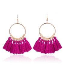 Bohemian Handmade Cotton Tassel Earrings for Women Long Big Ethnic Fringed Drop Earrings Hanging Dangling Women's Jewelry 2017