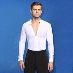 Для мужчин сексуальная танцевальная Топ черный, белый цвет Танго Сальса ча-ча Самба Румба практические занятия танцами одежда бальные