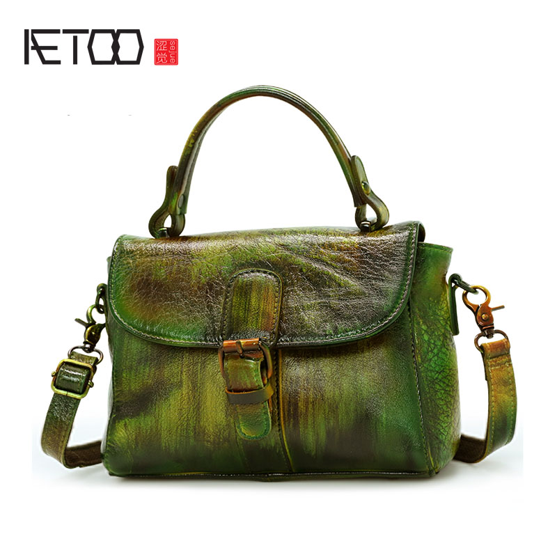 цены AETOO New retro bag female leather bag shoulder bag Messenger bag female Japan and South Korea fashion casual handbag female
