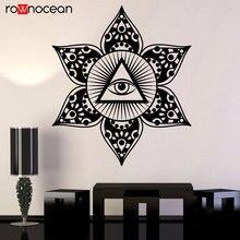 Vinyl Wall Decal Eye Of Providence All Seeing Masonic Symbol Stickers Mandala Flower. Yoga Art For Living Room YD37