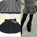 Новый 2016 осень зима ребенок девушки одежды бюст юбки тонкая шерстяная юбка в складку черный / серый t ~ 12 малышей девушки одежда