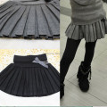 new 2016 Autumn  winter child clothing girl's bust skirt thin woolen pleated skirt black/gray 4T~12 toddler girls clothing