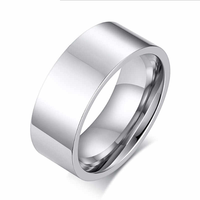 QianBei 8mm Classic Wide Chunky Ring for Men Gold Color Silver Color Black Stainless Steel Male Ring Alliance Wedding Jewelry