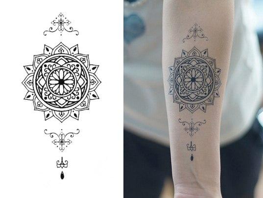 Hermoso Tatuaje Inspirado En Mandala Bonitos Tatuajes Temporales