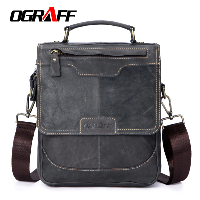 OGRAFF Men Bag Handbags Genuine Leather Bags Designer Portfolio Shoulder Bag Male Messenger Crossbody Bag 2018 Leather Handbags