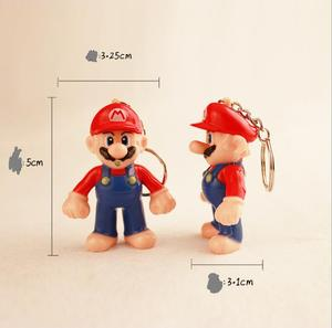 Брелок для ключей Super Mario, ПВХ, детские фигурки, экшн-игрушка, кукла, светодиодный брелок для ключей, автомобильный держатель для ключей