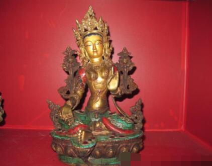 S03096 Tibet pure Bronze Gold Mosaic Turquoise Coral Green TaRa kwan yin Buddha statue (B0328)|statues buddha|statue tara|statue bronze - title=
