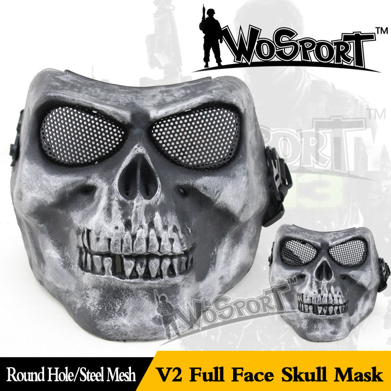 WoSporT M02 Airsoft Paintball Tactical CS Mask Full & Half Face Ghost Skull Mask Horror Mask (Steel Net )