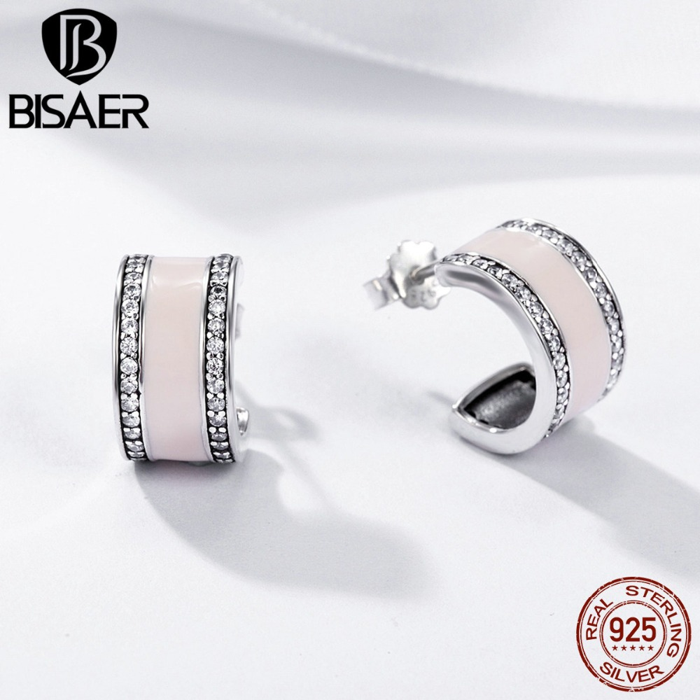 9408ad12c6c3 Comprar Auténtico 100% de Plata de Ley 925 Rosa Suave ronda pendientes de  aro pequeño para las mujeres geométrico Simple chica pendientes de joyería  2018 ...