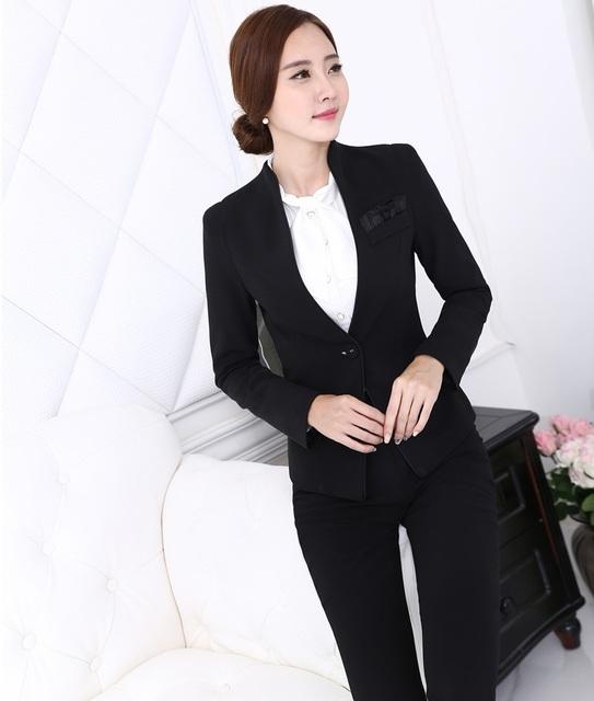 4XL más el Tamaño Uniforme de Gala Estilos Nuevo Profesional Business Women Pantalones Set Trajes Chaqueta Y Pantalones Mujer Trajes de Pantalón Negro
