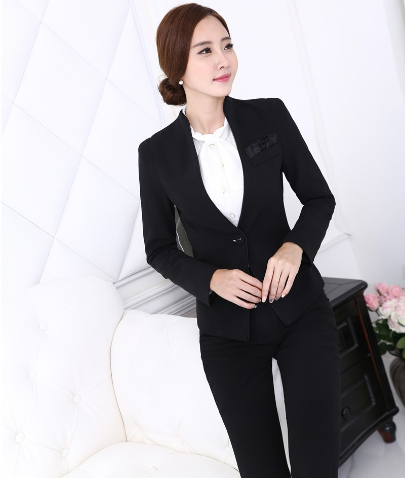 Plus Size 4XL Formal Uniform Styles New Professional Business Women Blazer And Pants Pantsuits Female Trousers Set Outfits Black